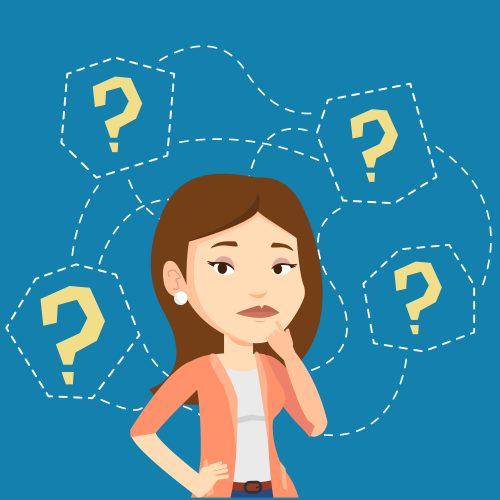 Thinking business woman standing under question marks. Young caucasian business woman thinking. Thinking business woman surrounded by question marks. Vector flat design illustration. Square layout.